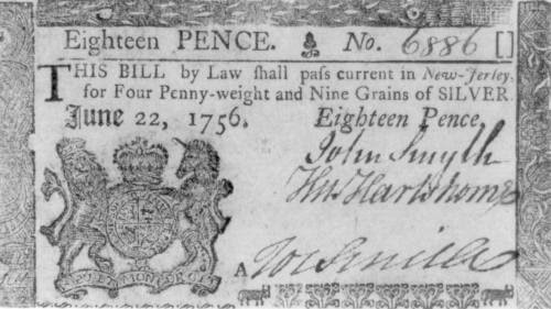 An 18-pence paper note from colonial New Jersey