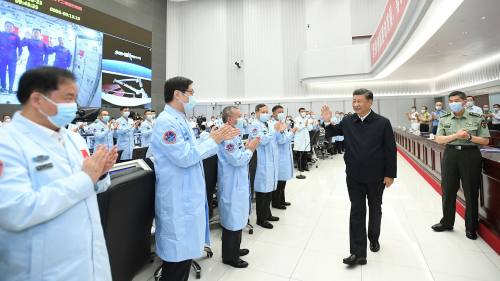 China's president Xi Jinping meets staff at the Beijing Aerospace Control Centre