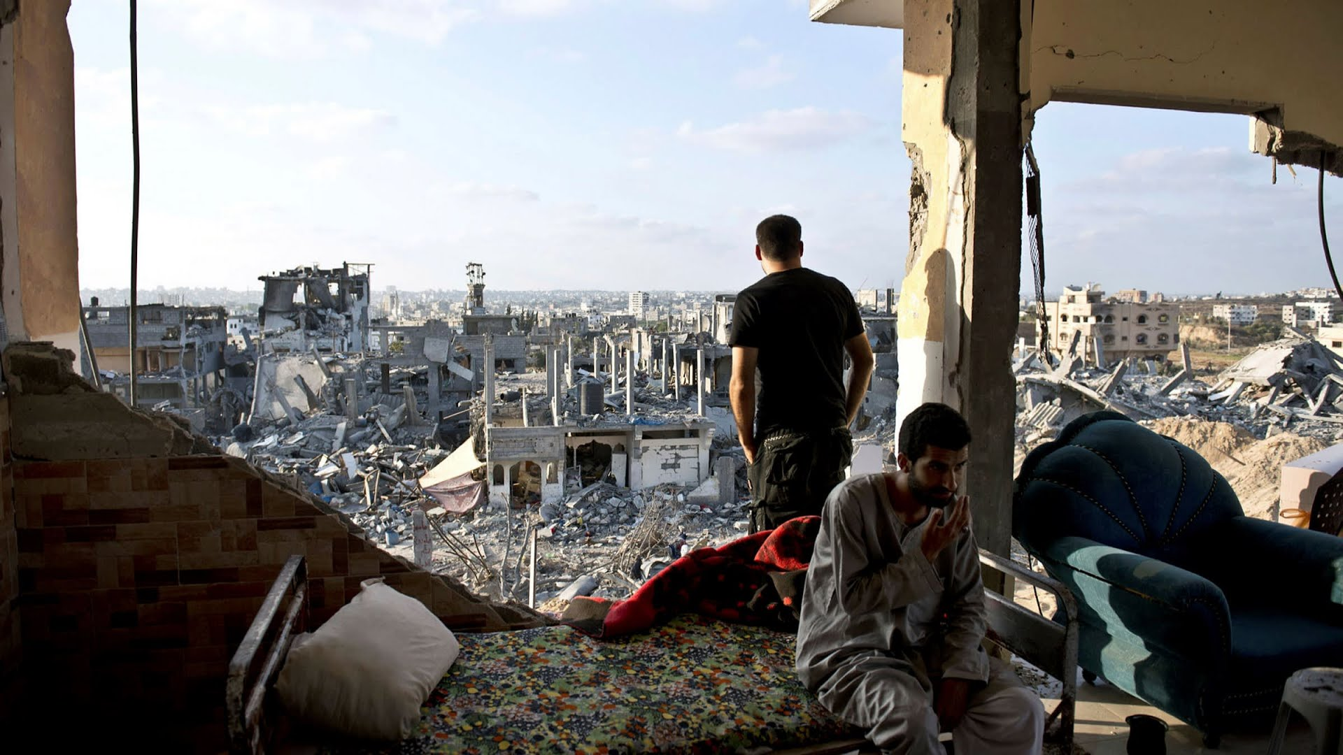 A destroyed apartment building in the Gaza Strip in 2014. Israel bombed the Gaza Strip for 51 days that year
