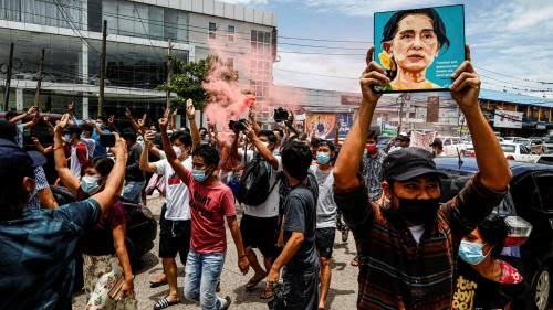 Protesters in Yangon this month