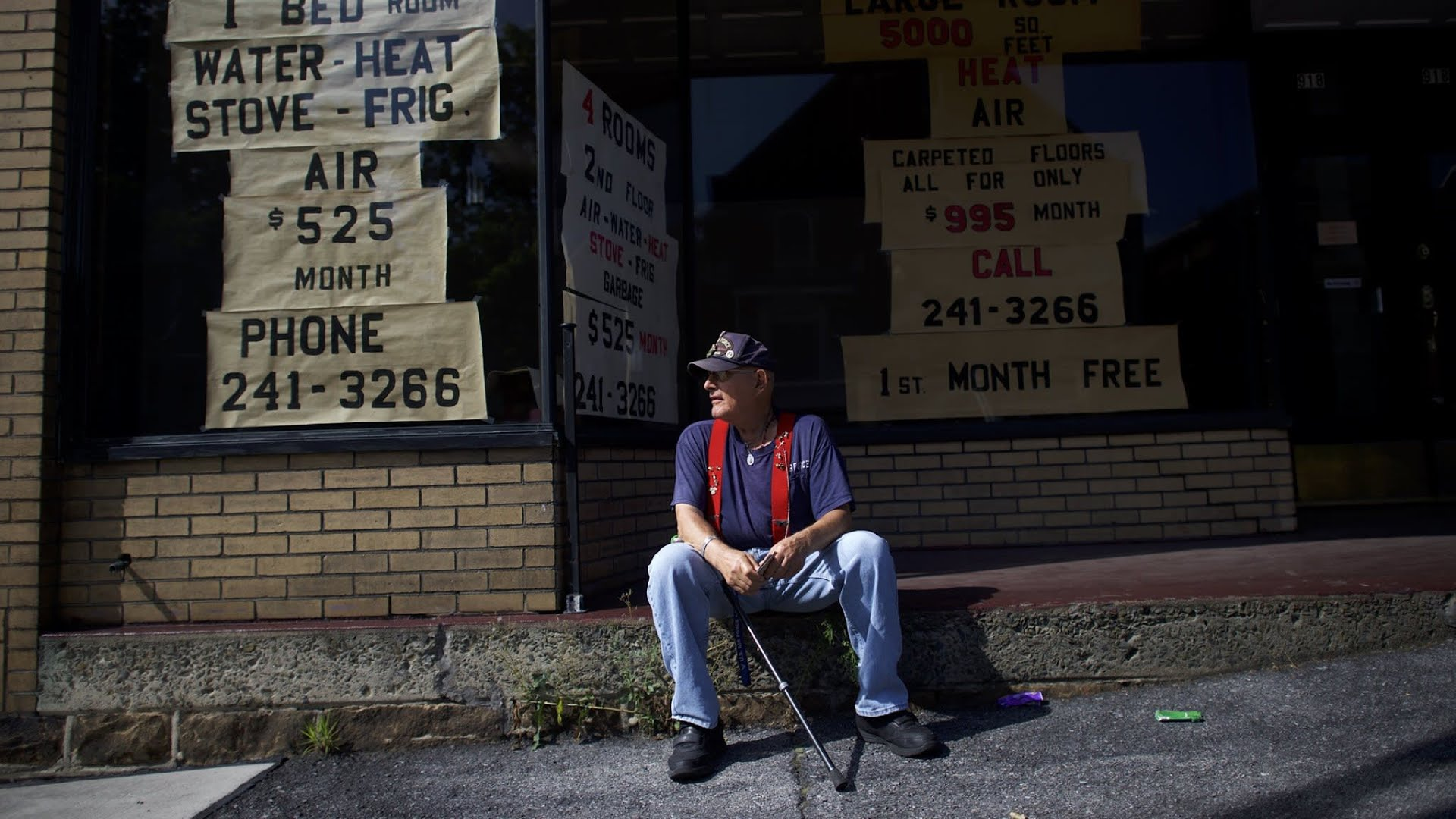 WINDBER, PA - AUGUST 13: Air Force veteran Nick Ferrante, 77, waits for a bus on August 13, 2016 in Windber, Pennsylvania. The small Western Pennsylvania town of just over 4,000 residents was founded as a company town for nearby coal mines, most of which have closed. 11.1% of the population now exists below the poverty line, with a median household income of $23,261. Republican Presidential candidate Donald Trump has been holding rallies in the state frequently, as he targets Pennsylvania's 20 delegates, the 5th largest total nationwide. (Photo by Mark Makela/Getty Images)